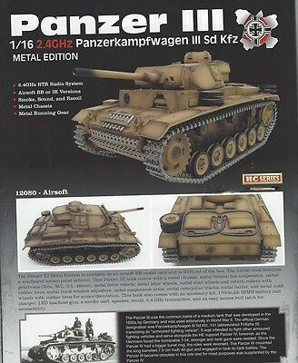 Taigen Panzer III (Metal Edition) Airsoft 2.4GHz RTR RC Tank 1/16th Scale