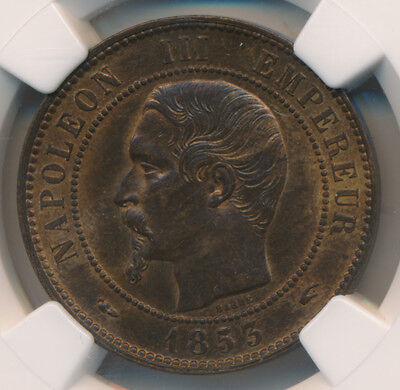 France 10 Centimes 1853A - NGC MS 65 BN