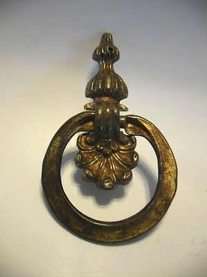 Vintage Brass Plated Victorian Ornate Drop Ring Dresser Pull Drawer Knocker