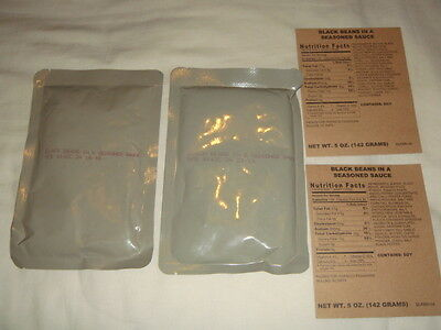 2 x BLACK BEANS IN SAUCE - MRE Meal Ready To Eat - Army Ration Pack Camping Food