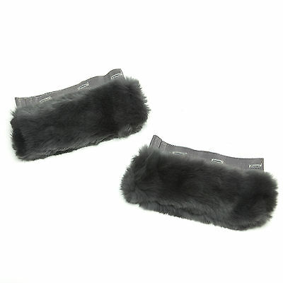 MAX MARA Women's Bambola Charcoal Lapin Fur Cuffs One Size $325 NWT