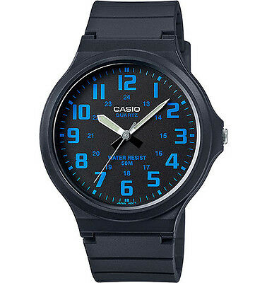 Casio MW240-2B Men's Black Resin Band Easy Reader Black Dial 3-Hand Watch