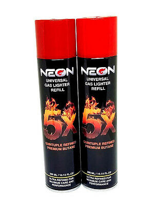 Neon 5X Butane 300ML Fuel 2 Pack (cans) - Premium Univerasl Gas Lighter Refill