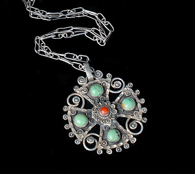 Dominguez Taxco sterling silver jeweled Cross Necklace Mexican Matl style signed