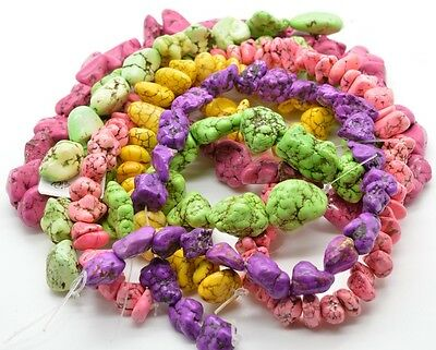 Huge Lot Of Natural Stone Howlite Beads Turquoise Strands Pink Purple Yellow