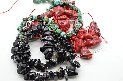 Huge Lot Of Natural Stone Howlite Beads Turquoise Strands Red Black Polished