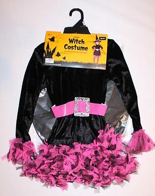 Girls Witch Costume Small Size 4 - 8 Dress Hat TIghts BRAND NEW Black Pink Kids