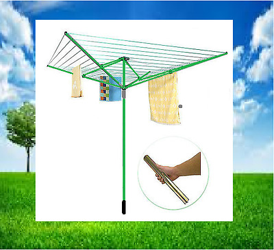 Outdoor 4 Arm 50M Rotary Outdoor Washing Line Ground Socket Airer Clothes Dryer