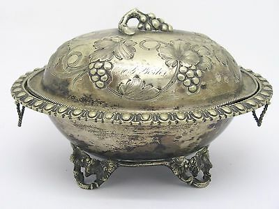 Victorian T&a Silverplate Repousse Covered Bowl / Casserole W/ Grape Vine Design