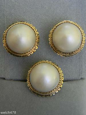 Fine 14K Yellow Gold Vintage 1930s Mabe Pearl Ring & Matching Omega Earring Set