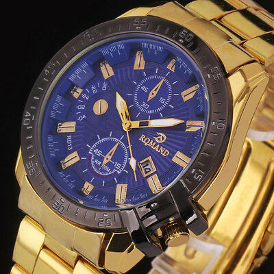 Stylish Men Black Dial Gold Stainless Steel Date Quartz Analog Sport Wrist Watch