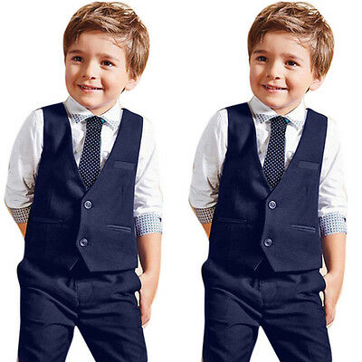 4PCS Kids Baby Boy Shirt Tops+Waistcoat+Pants+Tie Party Wedding Clothes Outfits