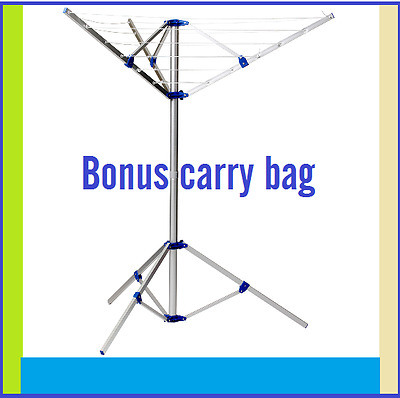 New Rotary Portable Camping Clothes Line Airer Dryer Clothesline Bonus Carry Bag