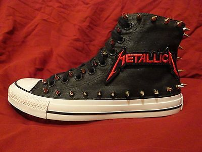 METALLICA Metal Punk CUSTOM STUDDED Converse Chuck shirt Sneakers M SHOES SPIKES