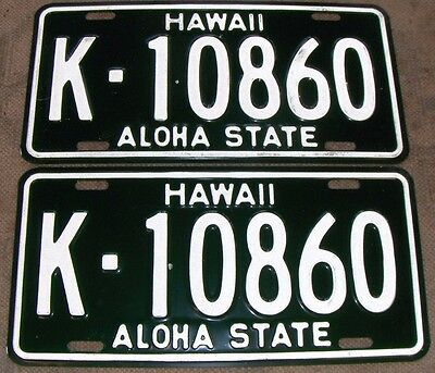 HAWAII 1961-1968 License Plates Tags LOT - PAIR of 2 plates - LOW SHIPPING