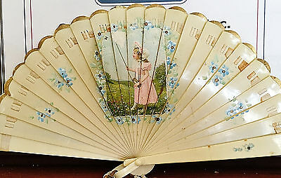 Beautiful Art Deco Celluloid Hand Painted Brise Fan Girl Catching Butterfly