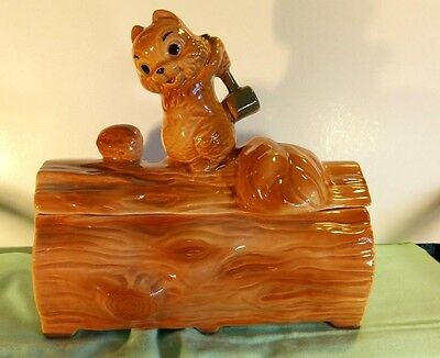 VINTAGE BRUSH McCOY SQUIRREL ON A LOG COOKIE JAR 1960'S FAB CONDITION