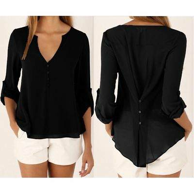 Women's Ladies Summer Loose Chiffon Tops Fashion Long Sleeve Shirt Casual Blouse