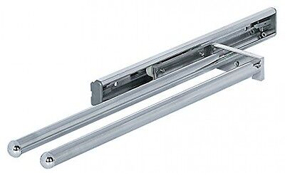 Pull Out Kitchen Towel Holder Rail POLISHED CHROME 2-ARM 330 Mm