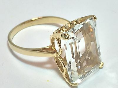 Nice Estate 14K Solid Yellow Gold Ring 16X12mm Emerald Cut Stone, Size 7, 6.0g