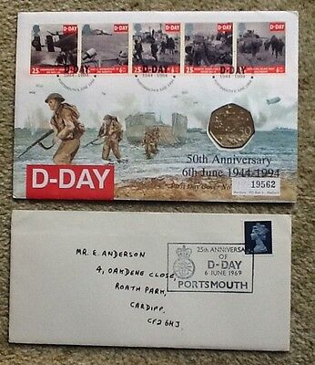 D-Day First Day Covers 25th and 50th Anniversary with uncirculated 1994 50p coin