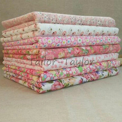 7pcs/Set Pink Floral Pattern Patchwork Quilting Sewing Cloths Cotton Fabric Lot