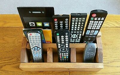 Wooden TV Remote Control Tablet Stand Holder Organiser 4 Compartments