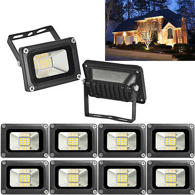 10X 10W 12V LED Outdoor Floodlight IP65 Garden Security Lamp Lights Warm White