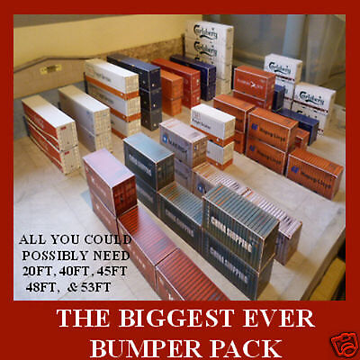 """Shipping Containers Card Kits HO Model """"THE BIGGEST BUMPER PACK EVER"""" x 16"""