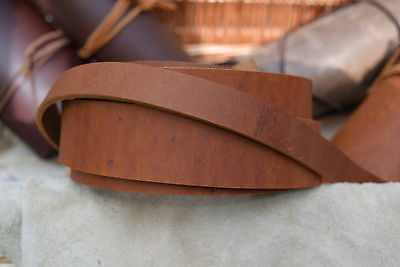 "48"" LONG 3.6mm THICK STRAP VINTAGE LOOK COWHIDE LEATHER SADDLE TAN VARIOUS WIDTH"