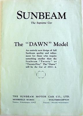 SUNBEAM Dawn Model Original Car Sales Brochure 1933-34 VACHER 8838