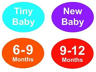 Baby & Childrens Clothes Hanger Size Stickers - Sticky Labels - New Baby