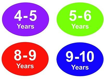 Coloured Baby & Childrens Clothes Size Stickers - Sticky Labels - 8 - 9 Years