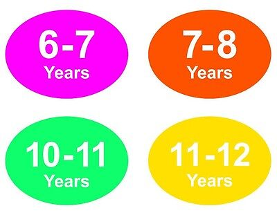Coloured Baby & Childrens Clothes Size Stickers - Sticky Labels - 11 - 12 Years