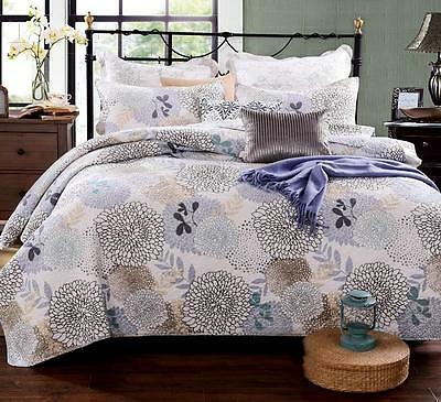 New Quilted 100% Cotton Coverlet / Bedspread Set Queen King Size Bed 230x250CM
