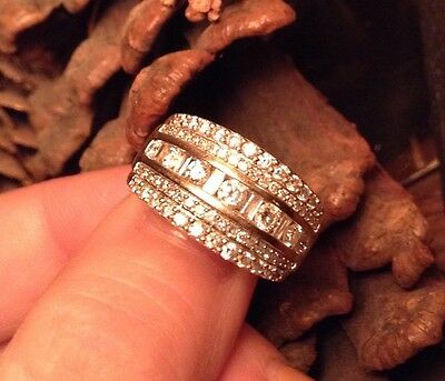 Diamond Band Ring GENUINE Natural VS/H Clear Diamonds 750/18Ct Solid White Gold