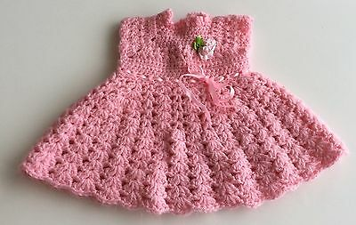 Doll Clothes - Hand Knit Crochet Pink Dress Cabbage Patch Doll
