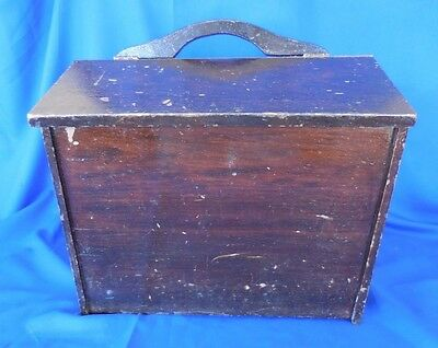 VTG Antique Yarn Sewing Cabinet Knitting Box Wooden Sewing Basket/Carrier