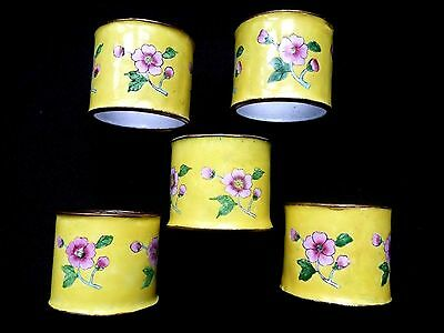 5 Yellow Enamel floral CHINESE EXPORT NAPKIN RINGS 1960's BRASS Lord & Taylor