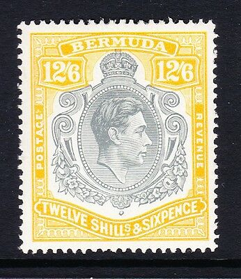 BERMUDA 1938-53 12/6d GREY & YELLOW WITH CERTIFICATE SG 120d MINT.