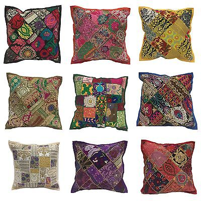 "Cushion Covers 16""x16"" Indian Heavy Embroidery Sari Patchwork Square ethinic zip"