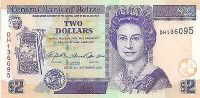 Crisp, UNCIRCULATED Belize 2007 Two Dollar Banknote