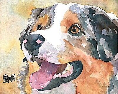 Australian Shepherd Dog Art Print Signed by Artist Ron Krajewski 8x10