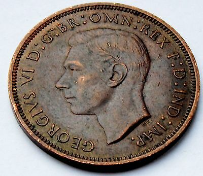 GB 1944 King George VI One Penny Coin - High Grade