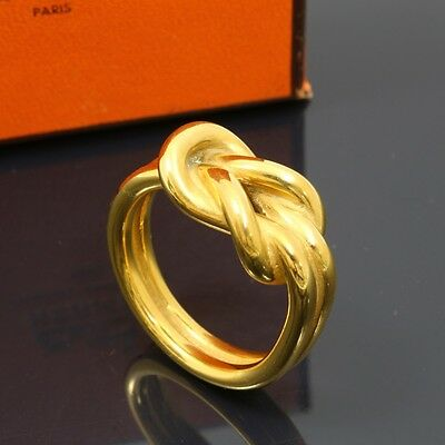 e1946 Authentic HERMES Atame Scarf Ring Gold Plated Box Gold