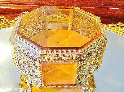 LARGE Antique PEACH GLASS GOLD ORMOLU FILIGREE BEVELED GLASS JEWELRY CASKET