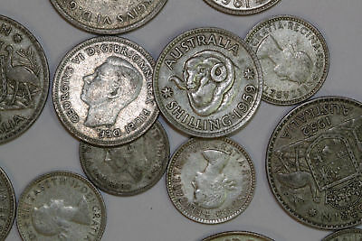 Australia 90.6 Grams of 500 Fine Silver Lot of 15 Coins 1948-1960s (NUM2867)