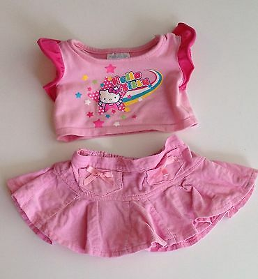 Build A Bear Clothes - Pink Hello Kitty Top & Pink Corduroy Skirt