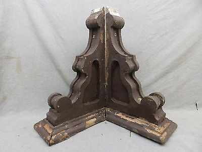 Antique Pair Wood Corbels Brackets Victorian Gingerbread Shabby Old Chic 102-17R