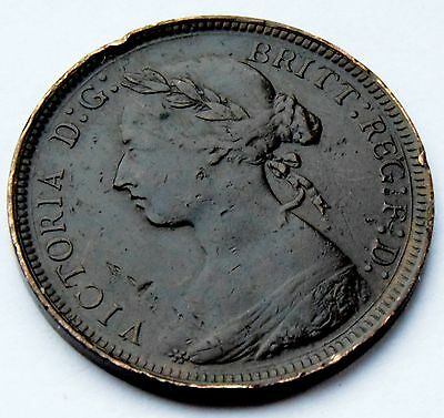 1884 British Half Penny Queen Victoria Bronze Coin